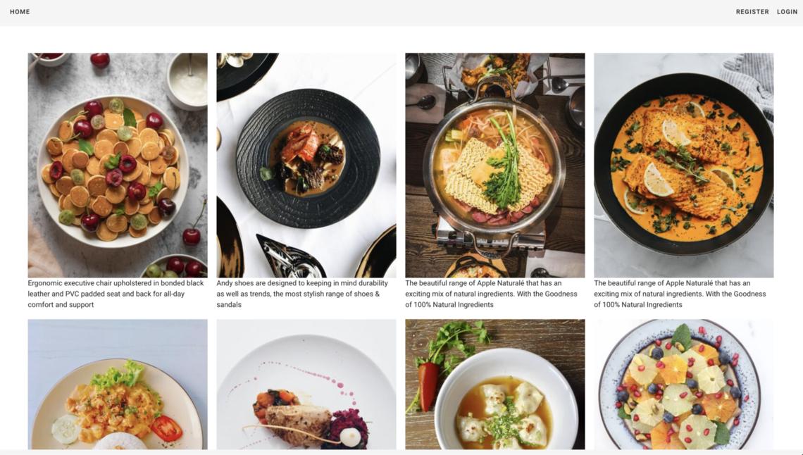 restaurant dishes website menu