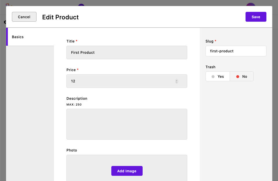 snipcart edit product
